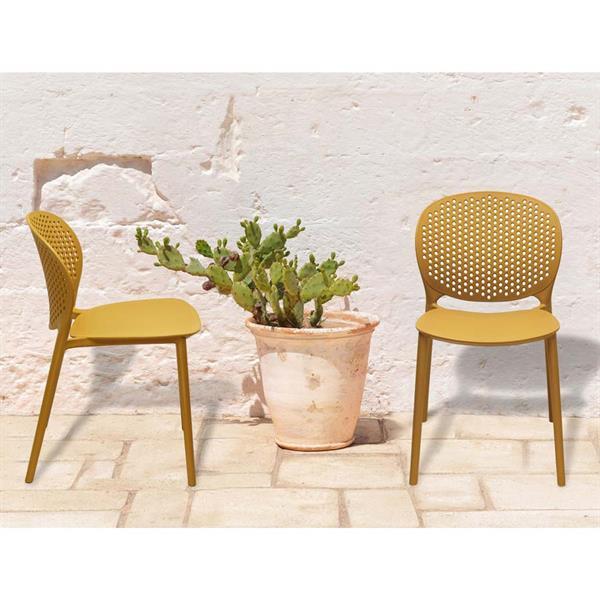 Sedie da giardino in resina Lolly color senape - Set da 4 ...