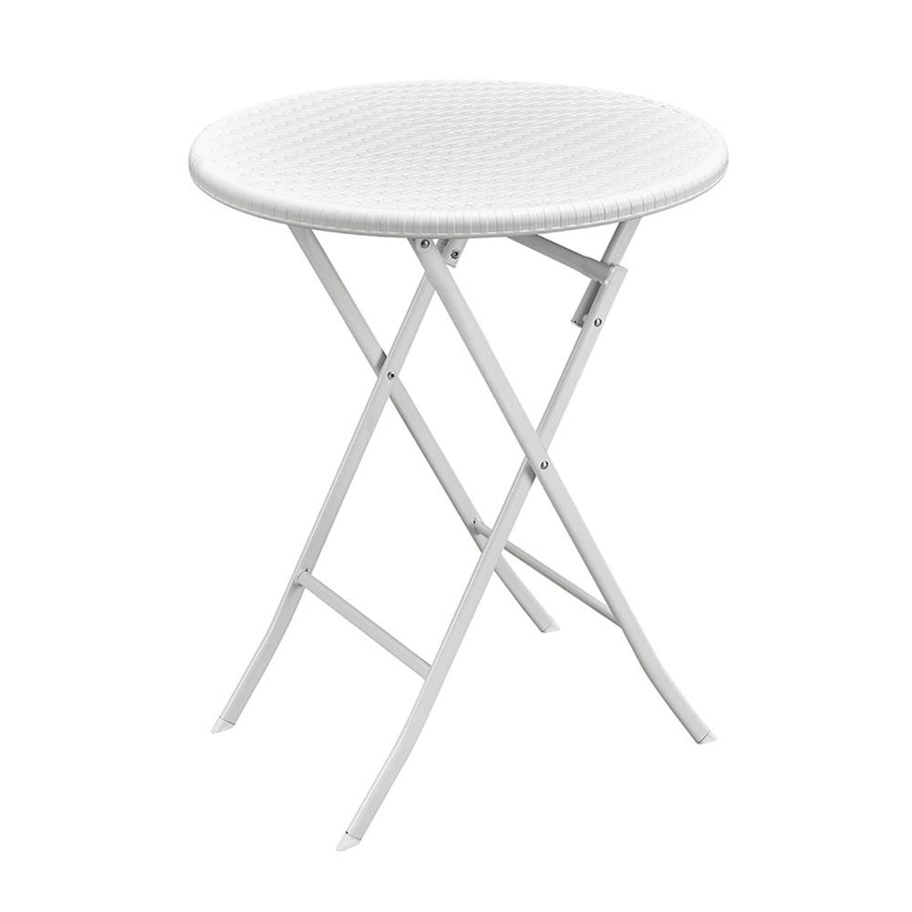Tavolino da esterno bianco in rattan rotondo   Brigros