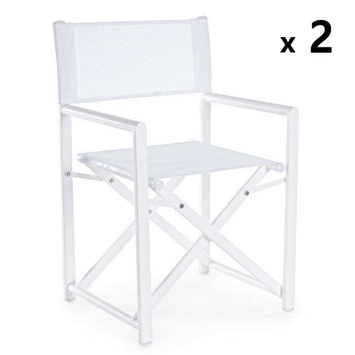 Sedia Regista Alluminio Offerte.Sedia Regista In Alluminio Taylor Bianco Set 2 Pz Brigros