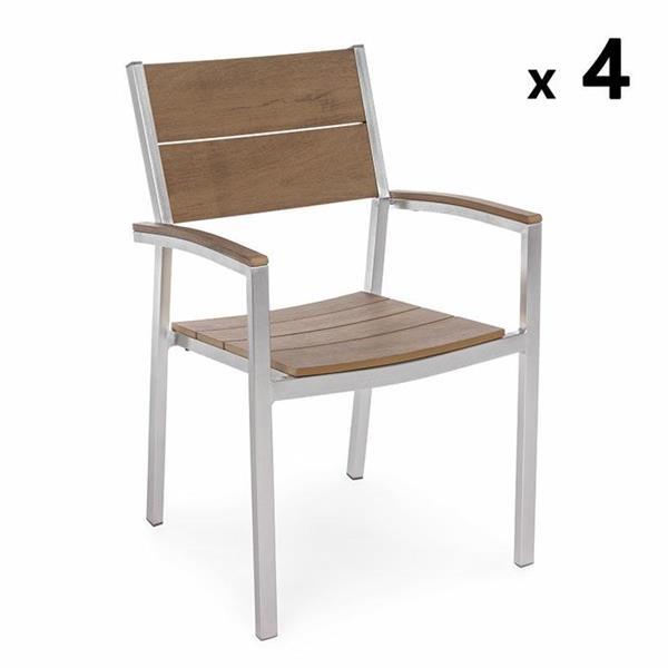 Sedie In Alluminio E Legno.Sedia Esterno In Alluminio E Legno Naturale Otis Brigros