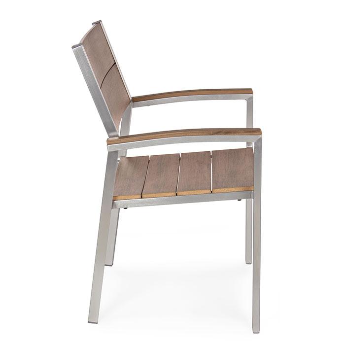 Sedie Alluminio E Legno.Sedia Esterno In Alluminio E Legno Naturale Otis Brigros