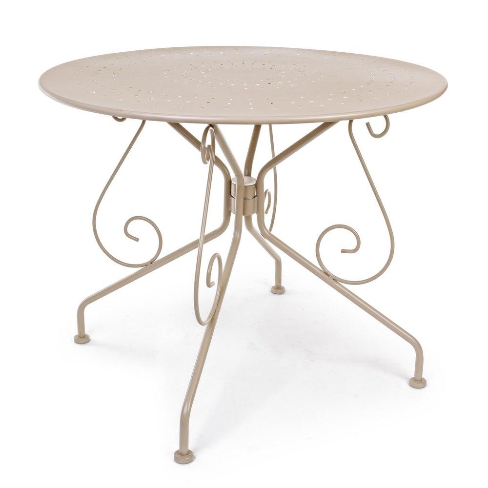 Tavolo da esterno in ferro tortora rotondo 90 cm etien for Tavolo da giardino usato