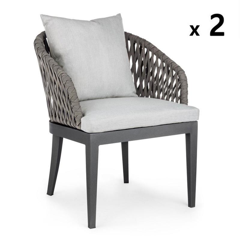 Set 2 sedie in alluminio da esterno Pelican   Brigros
