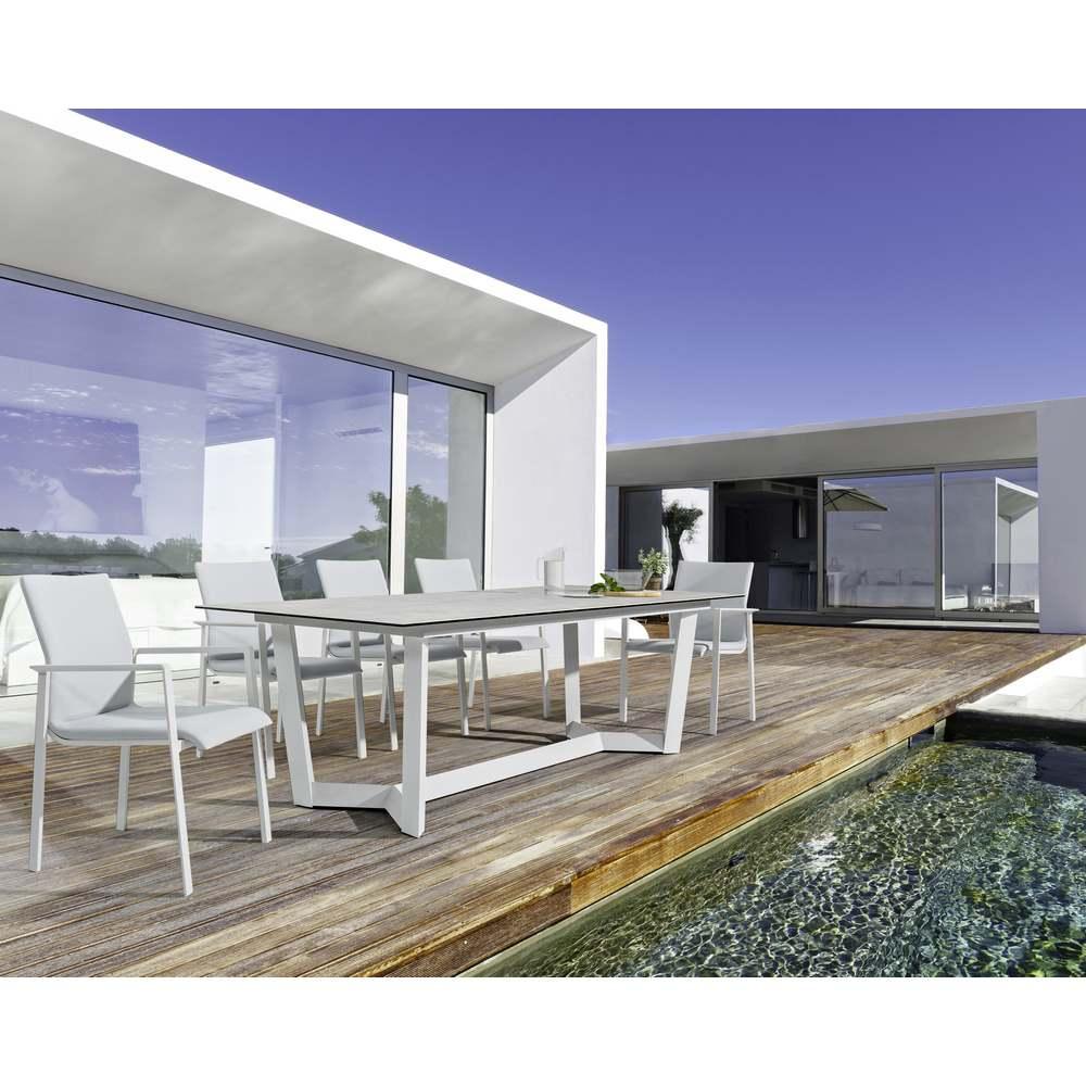 Tavolo da esterno bianco rettangolare 240x100cm modello for Articoli da esterno