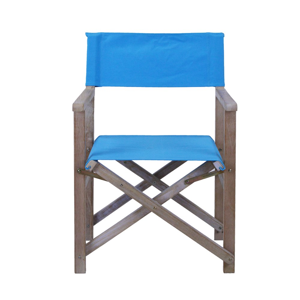 Sedia da giardino regista in legno e tessuto celeste brigros for Catalogo arredo giardino