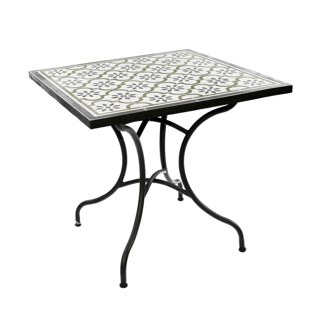 Tavolo da esterno in ferro marrone fantasia piastrelle ...