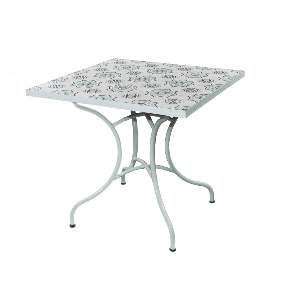 Tavolo Giardino Ferro Bianco.Tavolo Da Giardino In Ferro Bianco Con Fantasia 83x83x75 Cm Brigros