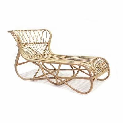 Chaise longue in rattan naturale - LUX