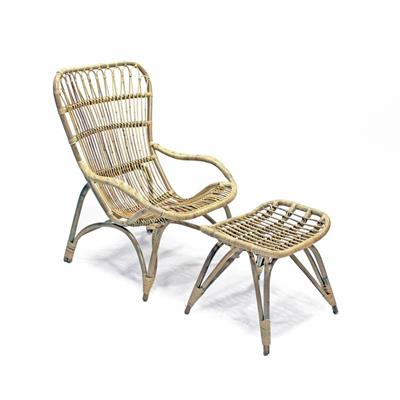 Poltrona in rattan naturale finitura grey - CURV