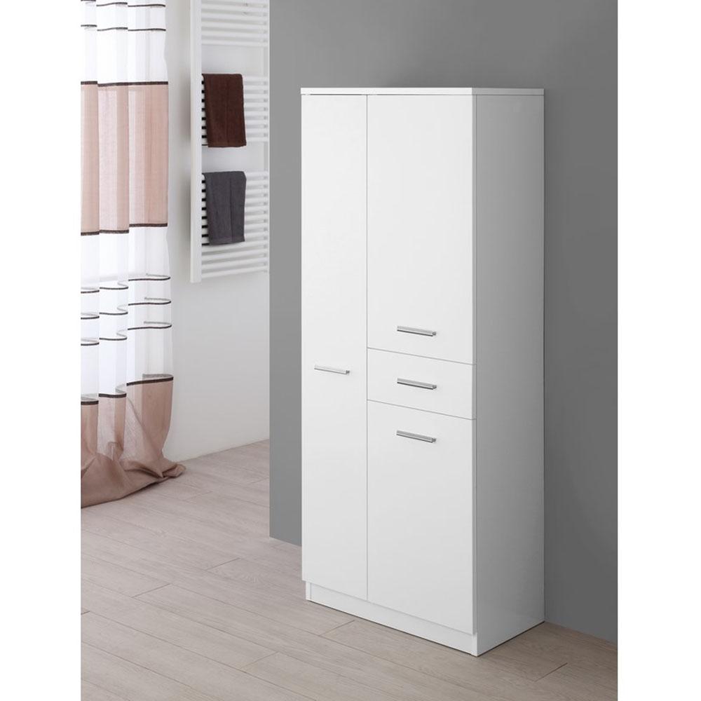 Mobiletto bagno bianco lucido 3 ante 1 cssetto brigros for Articoli da bagno