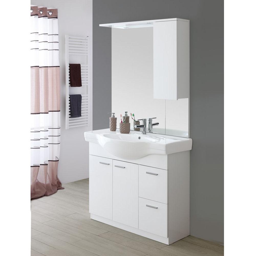 Mobile bagno con specchio 2 ante e 2 cassetti | Brigros