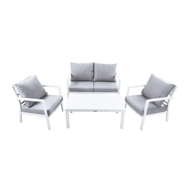 Set salotto da giardino in alluminio 4 pz brigros for Salotto bianco