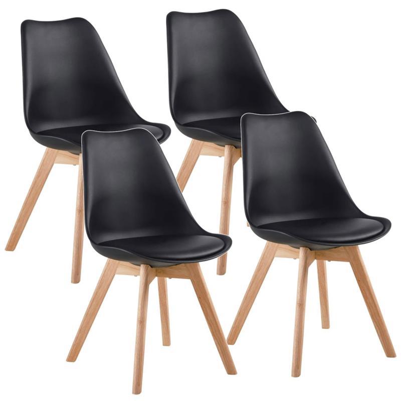 Set 4 sedie di design nera con gambe legno Candice | Brigros
