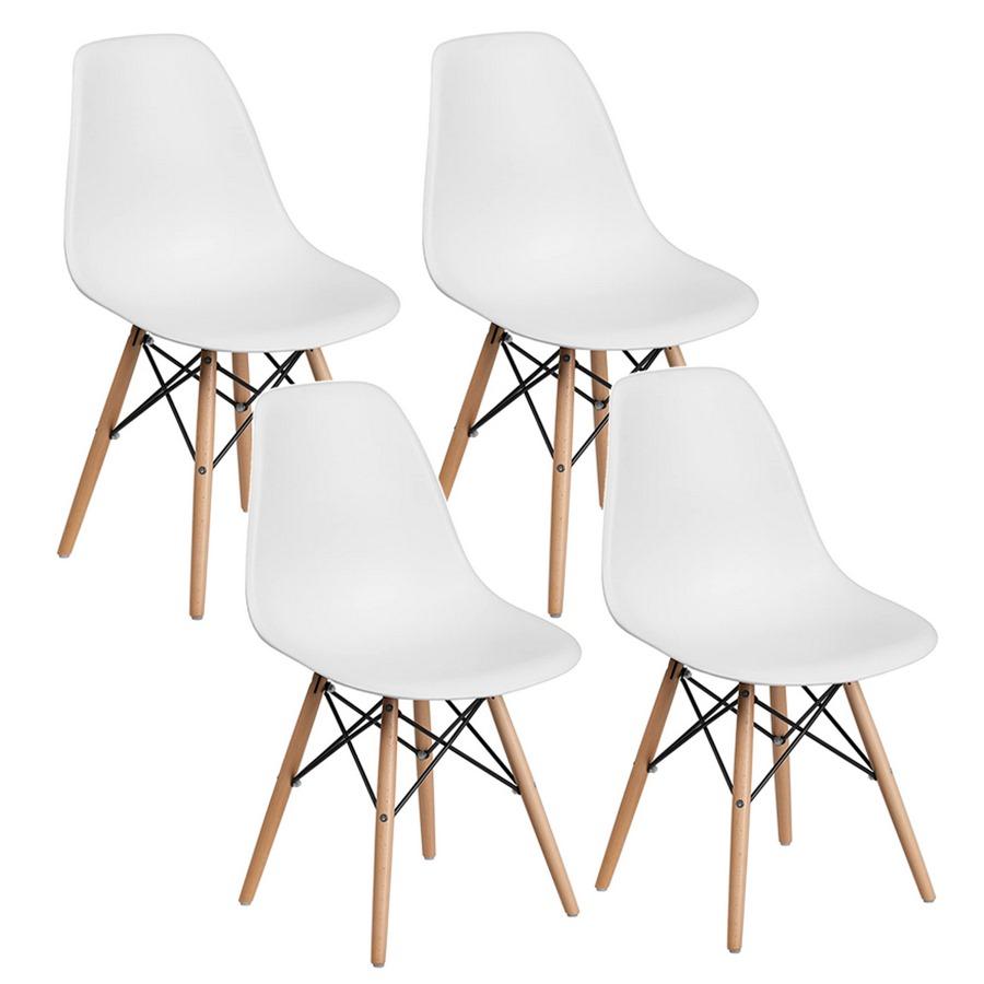 Sedie Bianche Con Gambe Legno.Set 4 Sedie Design Bianche Ester Gambe Faggio Brigros