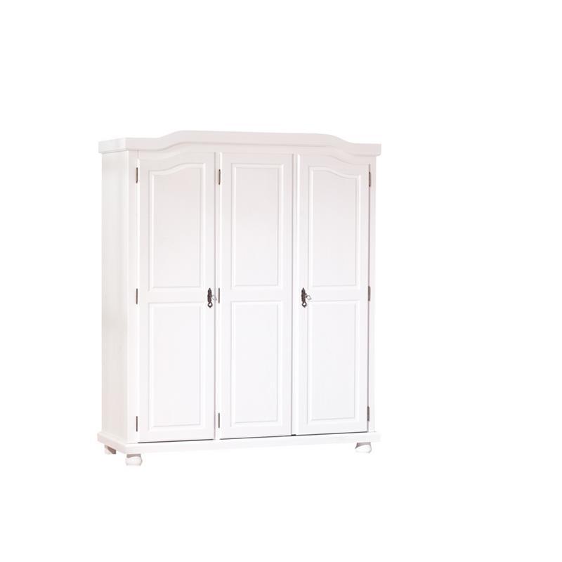 Armadio camera da letto a tre ante in legno bianco | Brigros